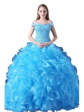 Ball-gown Off-the-shoulder Court Train Tulle Prom Dress With Cascading Ruffle
