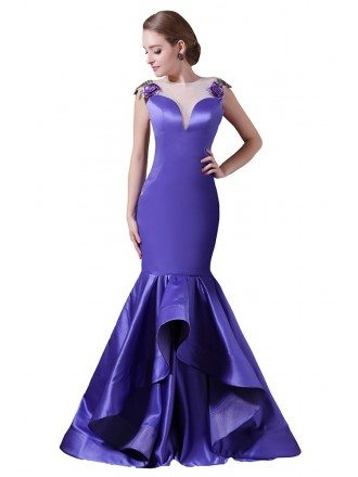 Mermaid Scoop Neck Sweep Train Satin Prom Dress With Appliques lace