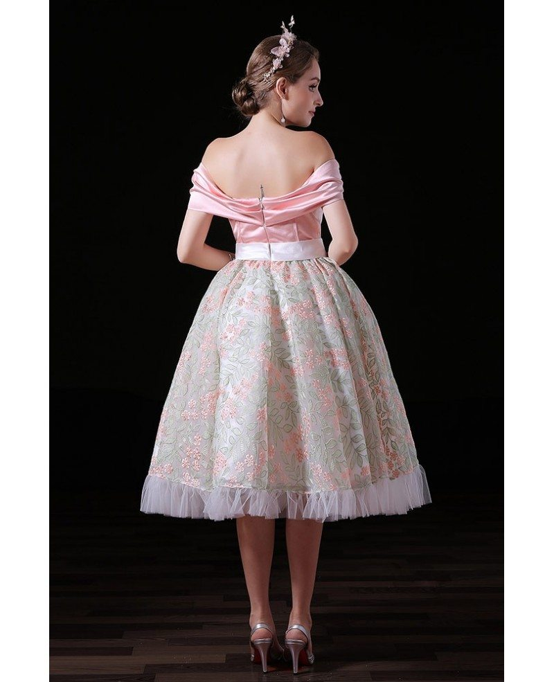 Ball-gown Off-the-shoulder Tea-length Tulle Homecoming