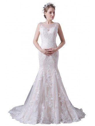 Mermaid Scoop Neck Sweep Train Tulle Wedding Dress With Lace