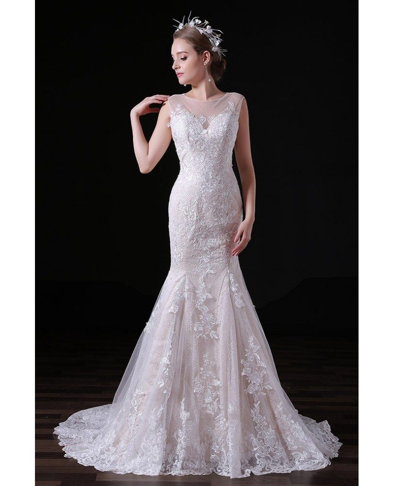 Tulle Overskirt Wedding Dresses Mermaid Bateau Neck Simple: Mermaid Scoop Neck Sweep Train Tulle Wedding Dress With