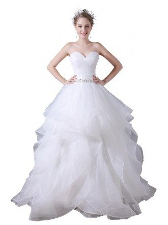 Ball-gown Sweetheart Floor-length Tulle Wedding Dress With Beading