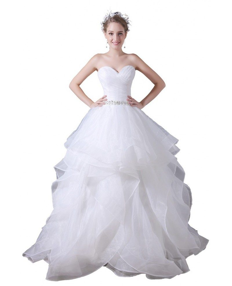 Ball gown sweetheart floor length tulle wedding dress with for Beading for wedding dress
