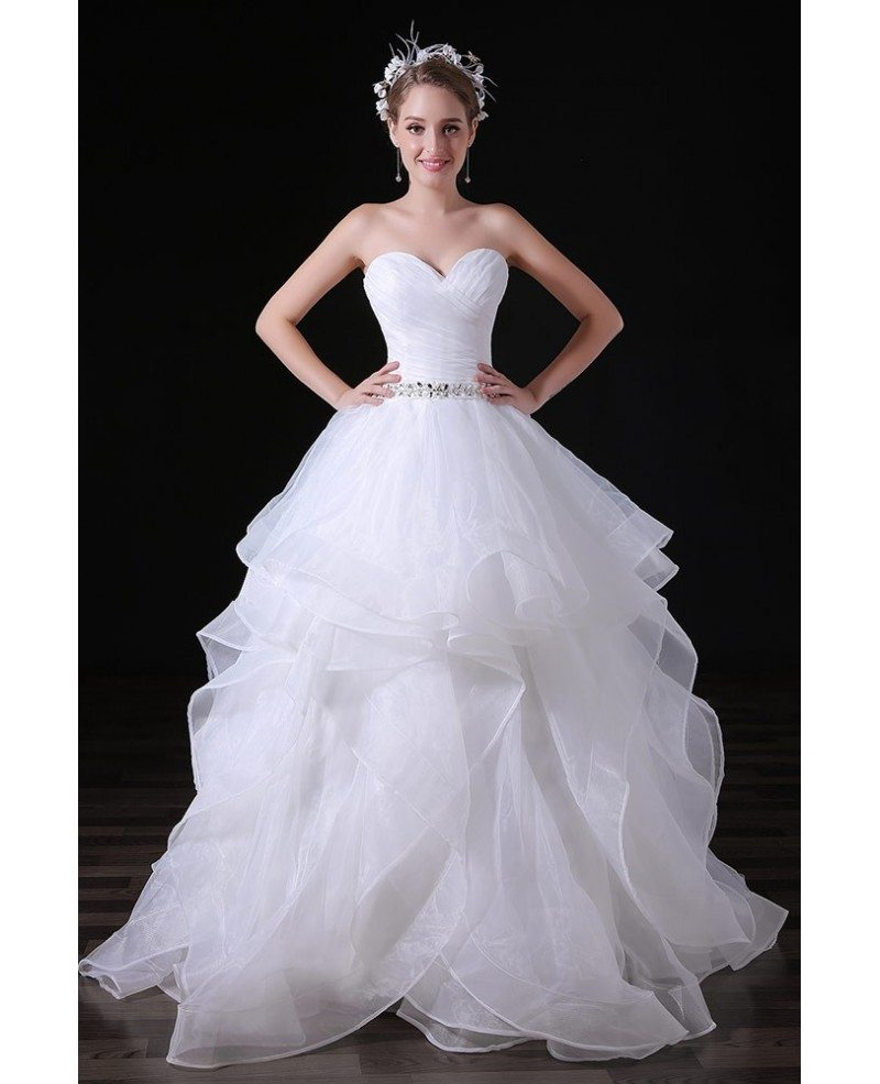 Ball Gown Sweetheart Floor Length Tulle Wedding Dress With Beading A029 14899