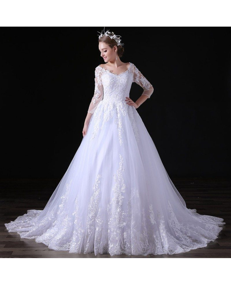 Ball gown v neck court train tulle wedding dress with lace for Ball gown tulle wedding dress