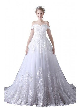 Ball-gown Off-the-shoulder Court Train Tulle Wedding Dress With Lace