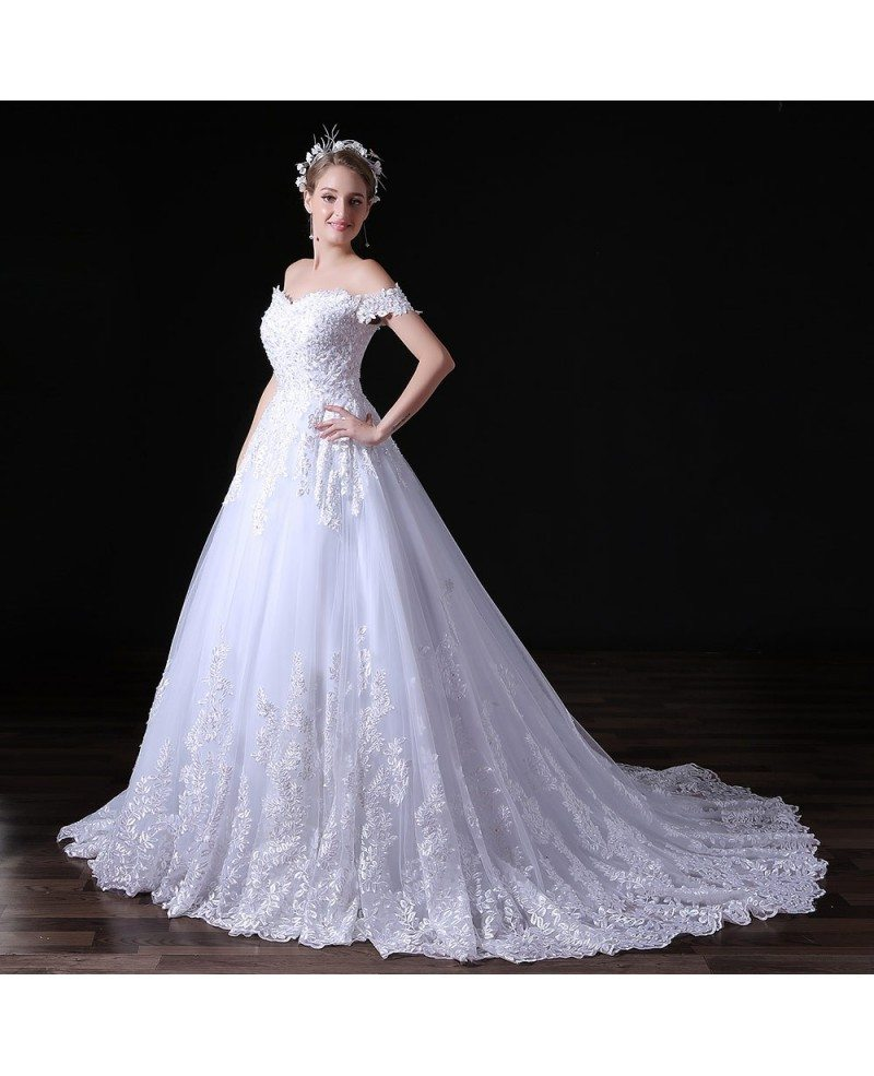 Ball gown off the shoulder court train tulle wedding dress for Ball gown tulle wedding dress