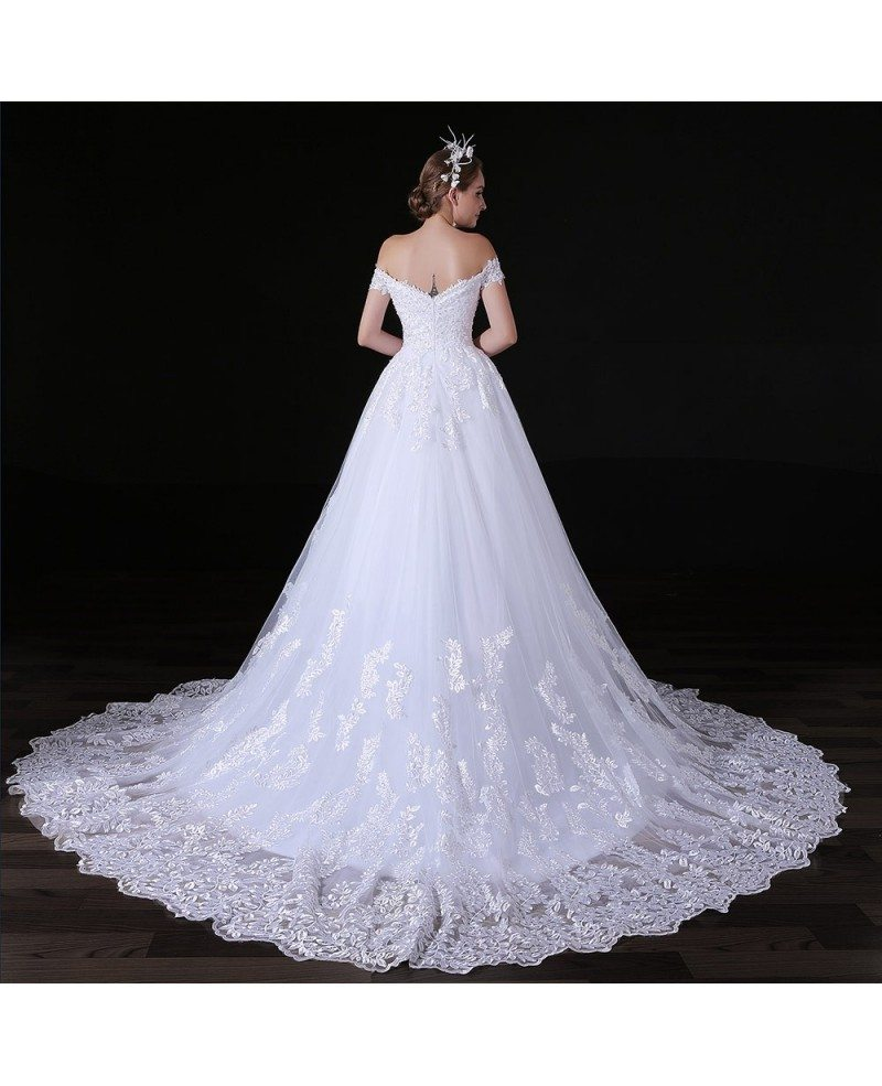 Tulle Ball Gown Wedding Dress: Ball-gown Off-the-shoulder Court Train Tulle Wedding Dress