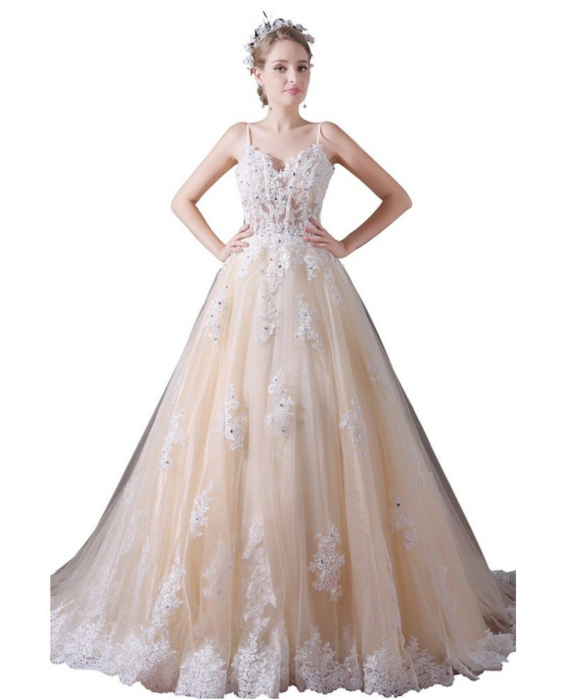 Ball gown v neck court train tulle wedding dress with for Beading for wedding dress