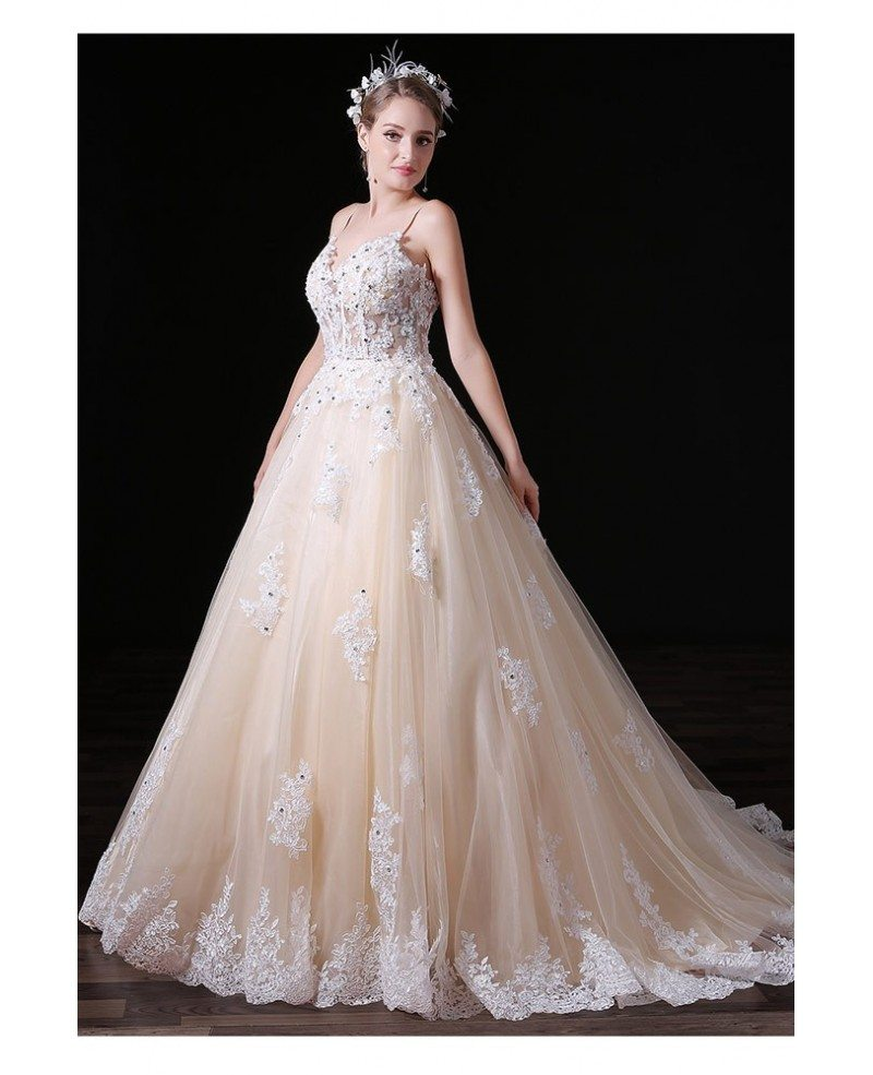 Ball gown v neck court train tulle wedding dress with for V neck wedding dress