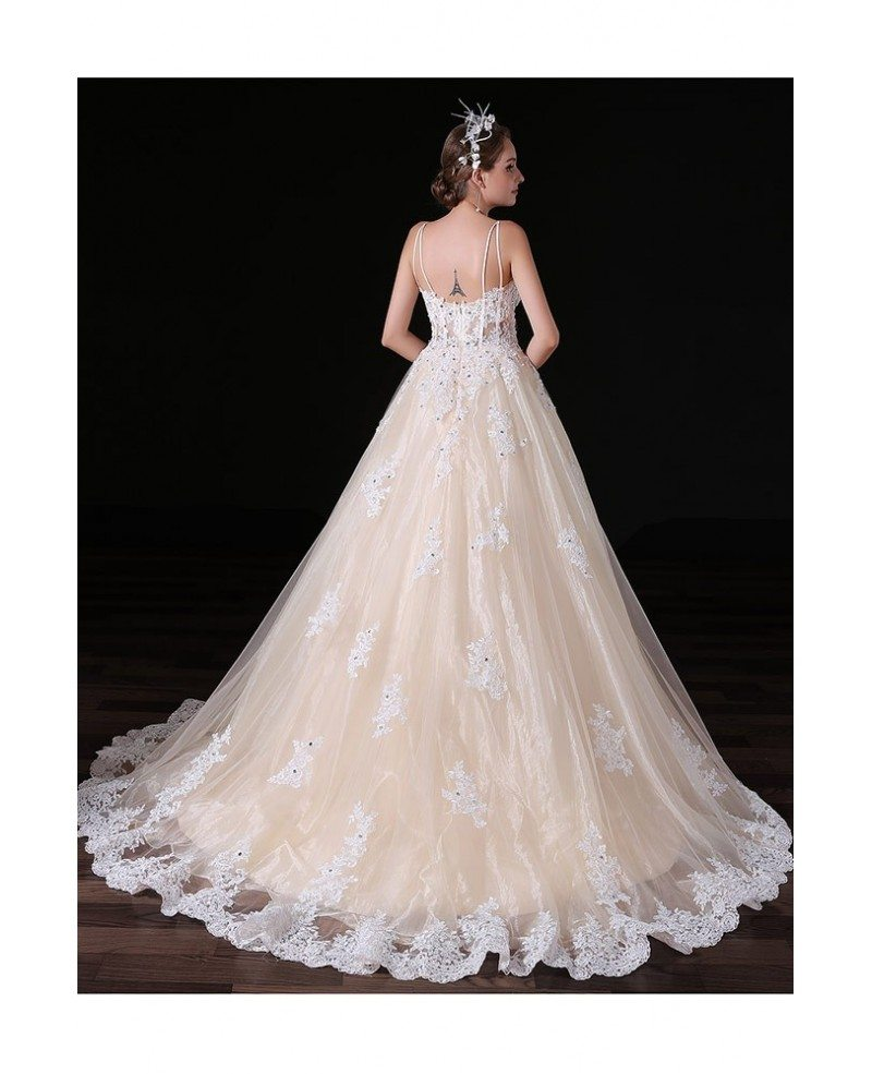 Ball gown v neck court train tulle wedding dress with for Ball gown tulle wedding dress