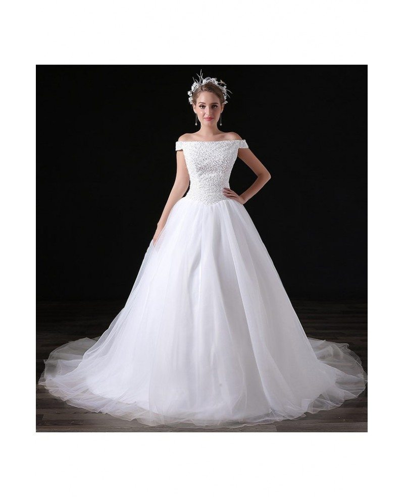 Ball gown off the shoulder court train tulle wedding dress for Beading for wedding dress