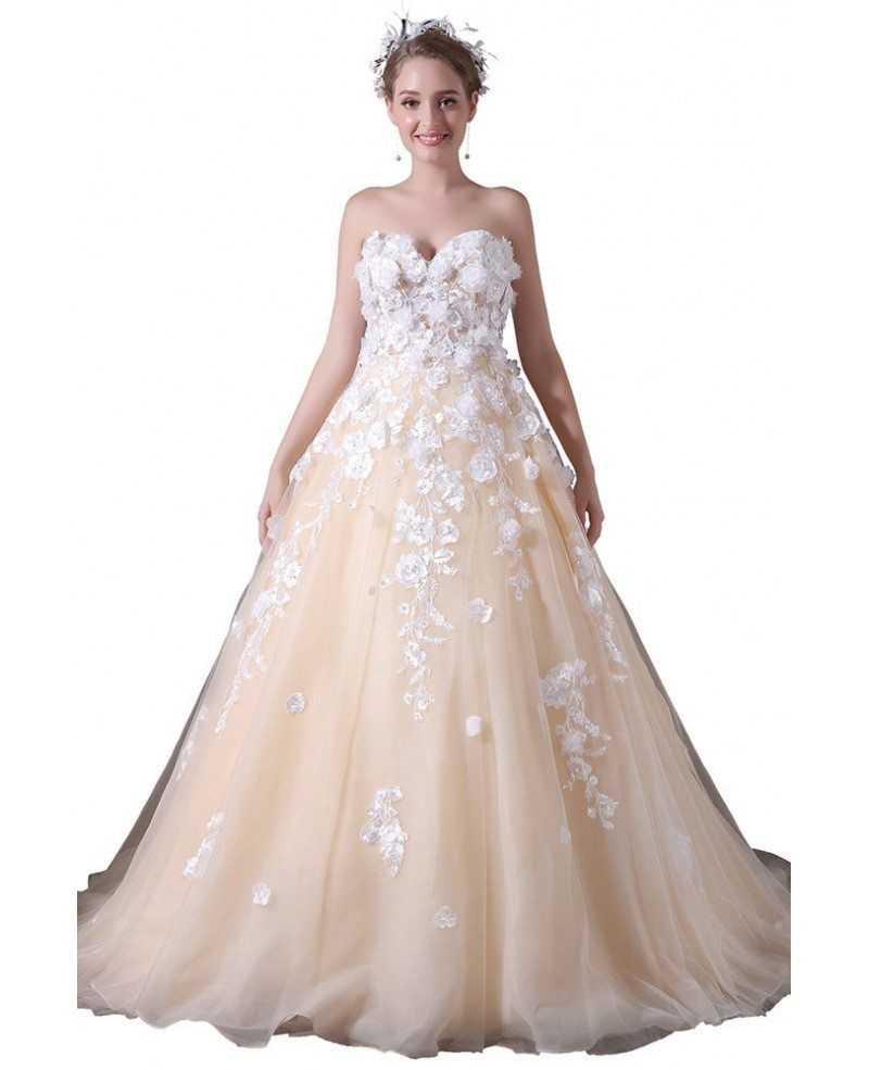 Ball gown sweetheart court train tulle wedding dress with for High low ball gown wedding dress