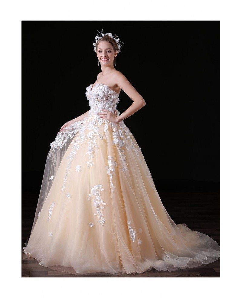 Ball Gown Wedding Dresses With Train: Ball-gown Sweetheart Court Train Tulle Wedding Dress With