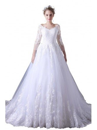 Ball-gown V-neck Court Train Tulle Wedding Dress With Lace