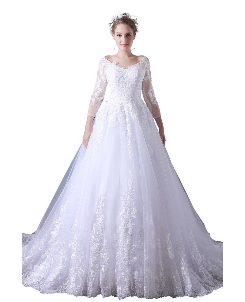 V Neck Wedding Gown: Ball-gown V-neck Court Train Tulle Wedding Dress With Lace