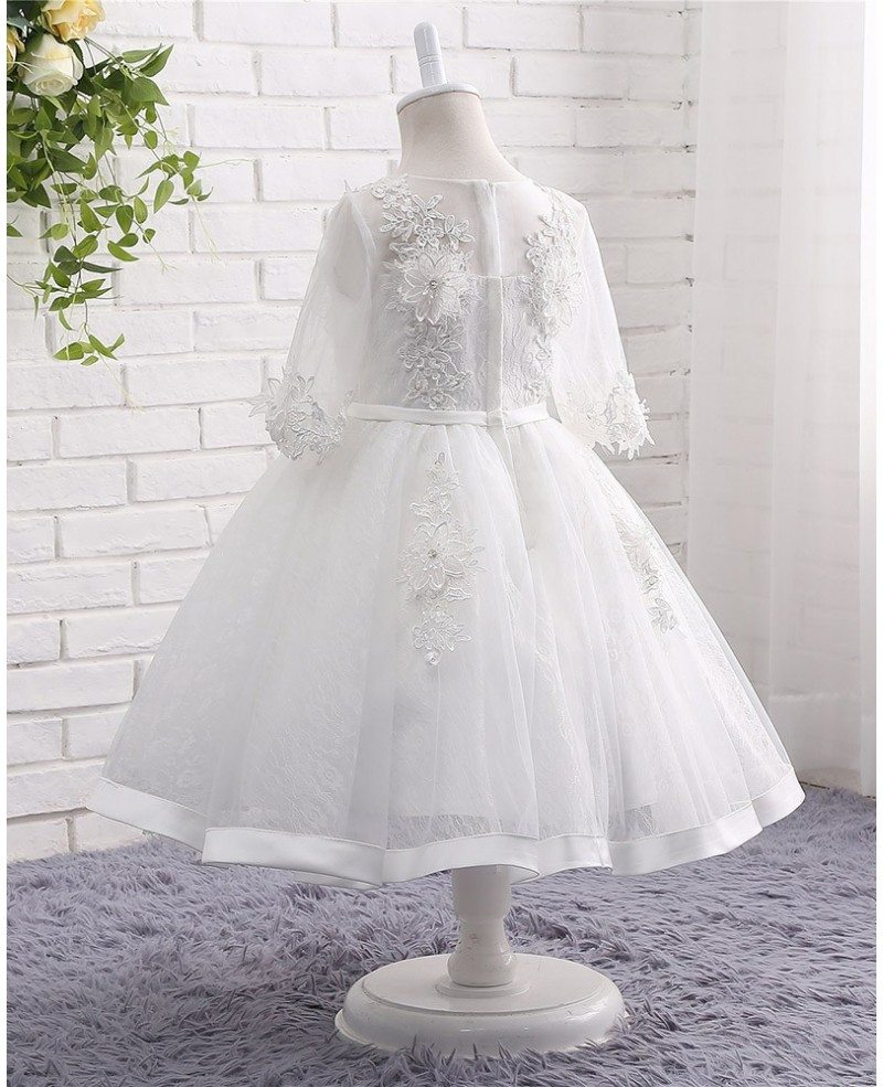 White lace tulle ball gown flower girl wedding dress with for White tulle wedding dress