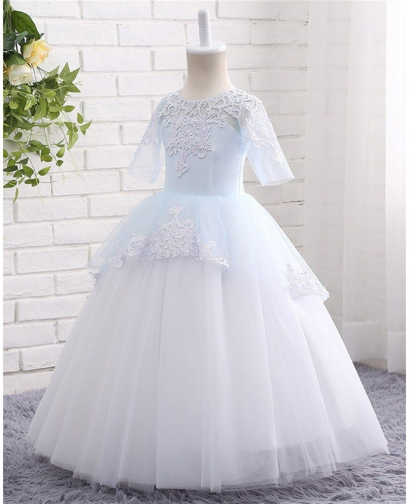 Blue And White Ball Gowns High Quality Lace Blue...