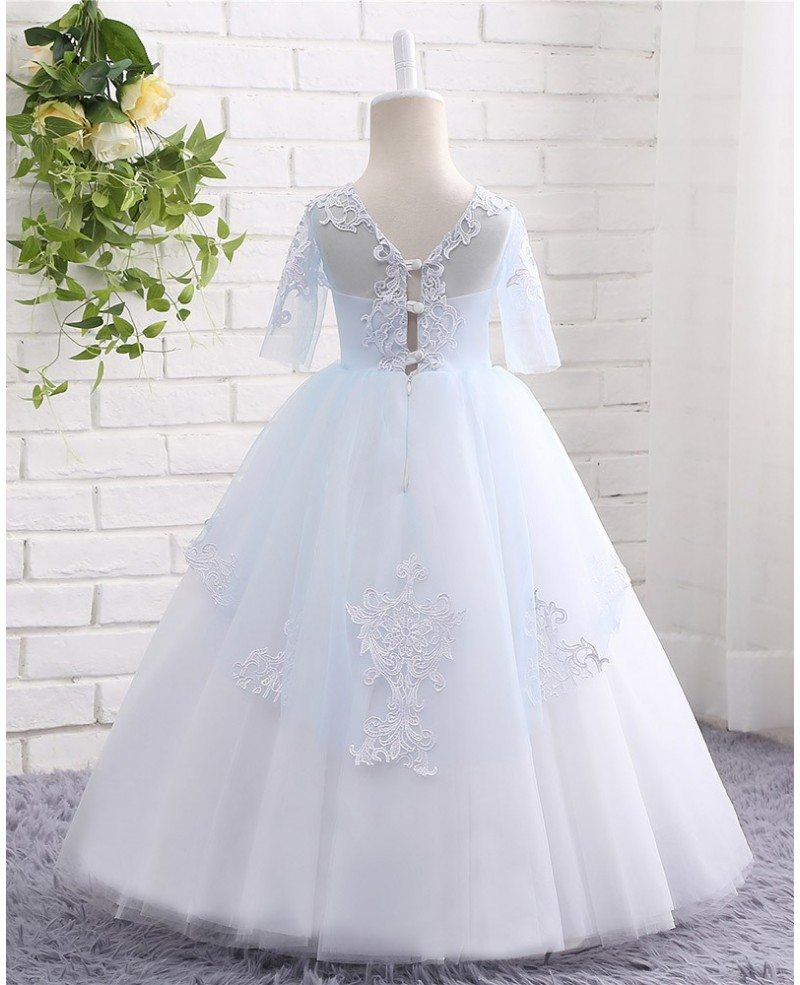 High Quality Lace Blue And White Ball Gown Tulle Flower Girl Dress