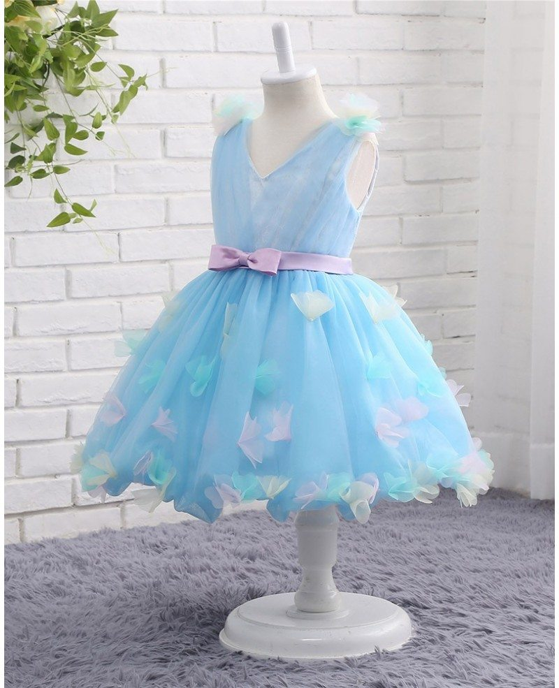 Blue Tulle Petals Summer Wedding Short Flower Girl Dress With Sash