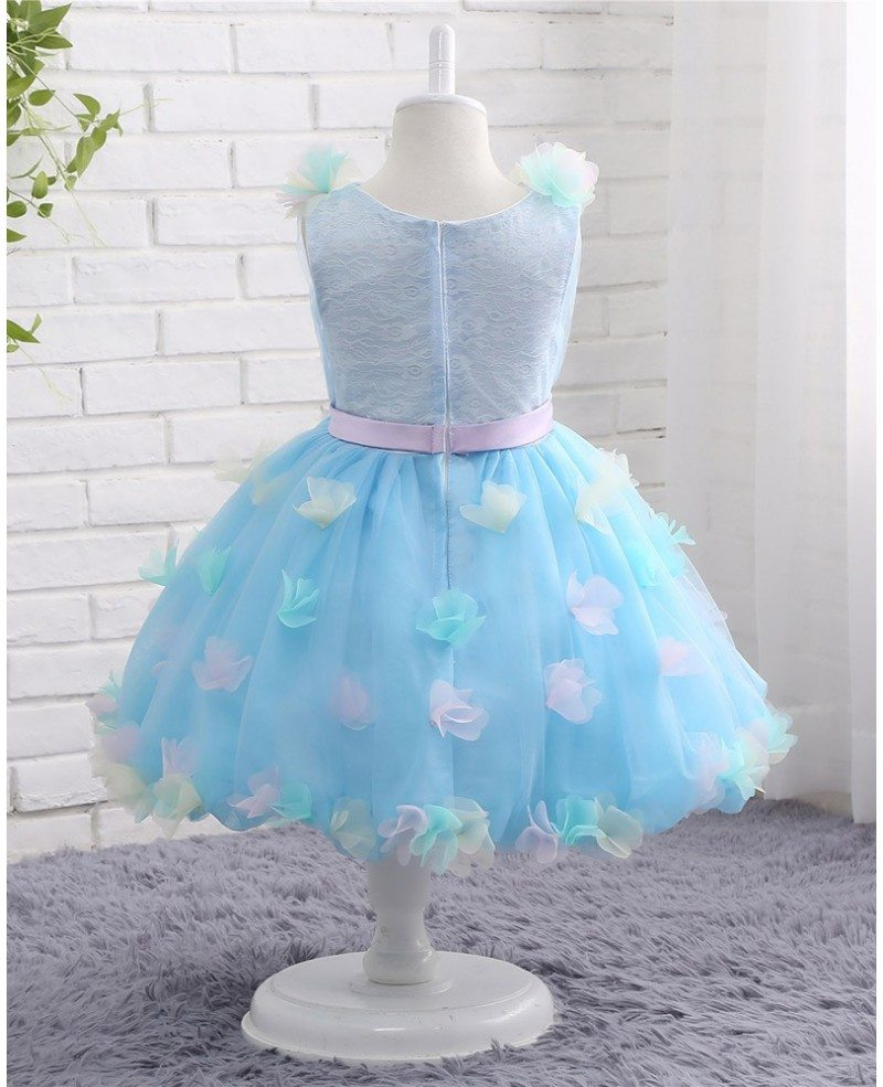 Blue Tulle Petals Summer Wedding Short Flower Girl Dress With Sash #CTZ008 $78.99 - GemGrace.com