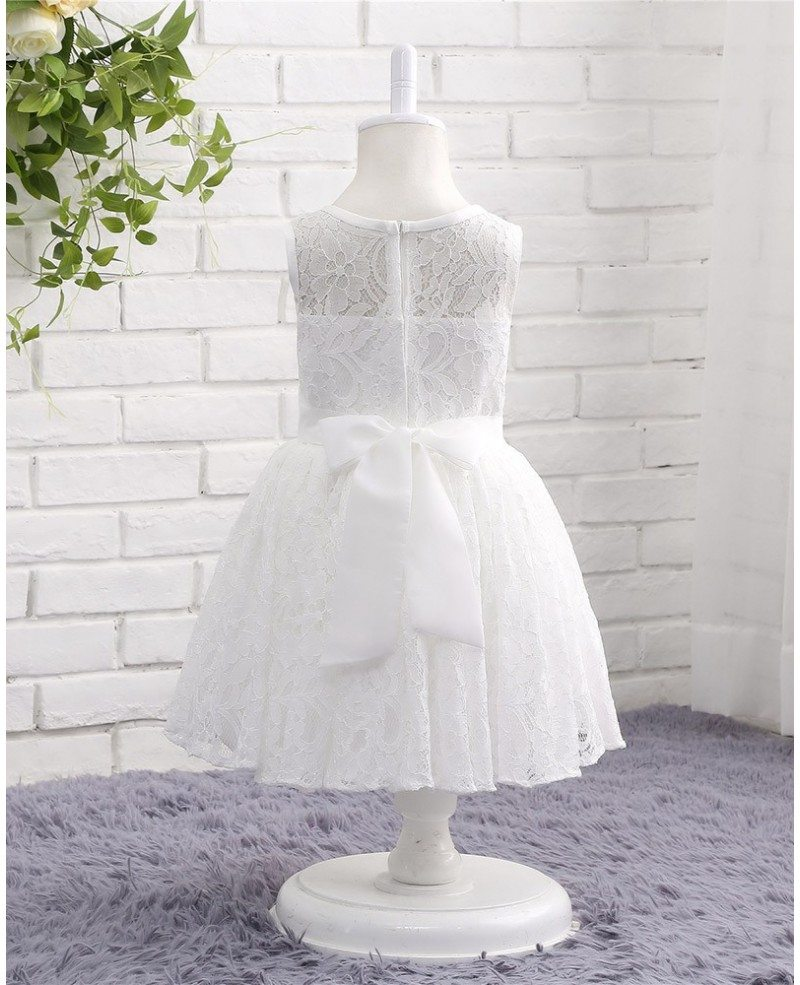 White lace toddler flower girl wedding dress with sash for Lace flower wedding dress