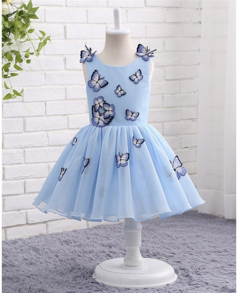 Unique Blue Tulle Butterfly Formal Girls Party Dress #CTZ015 $78.99 ...