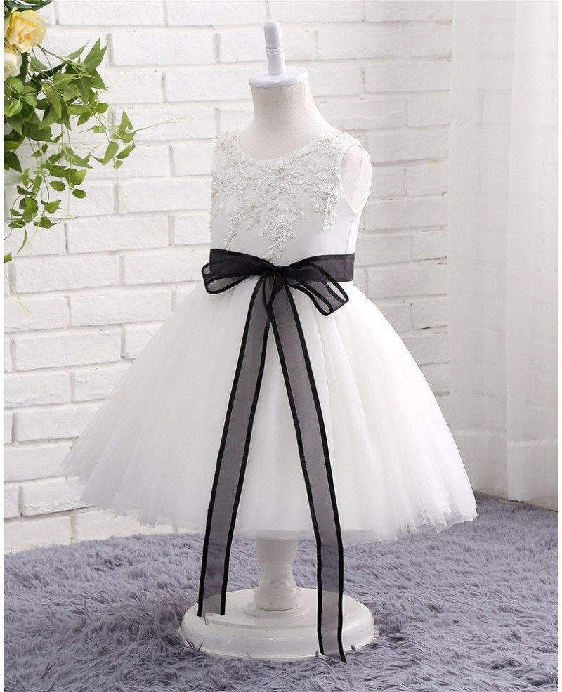 Black and white lace tulle flower girl wedding dress with for Black tulle wedding dress