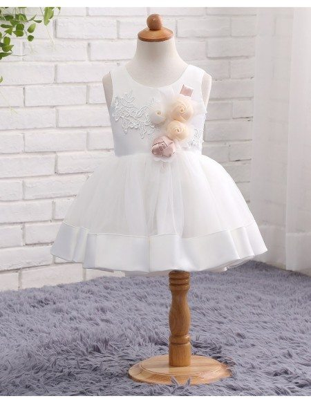 White Tulle And Satin Toddler Girls Formal Wedding Dress With