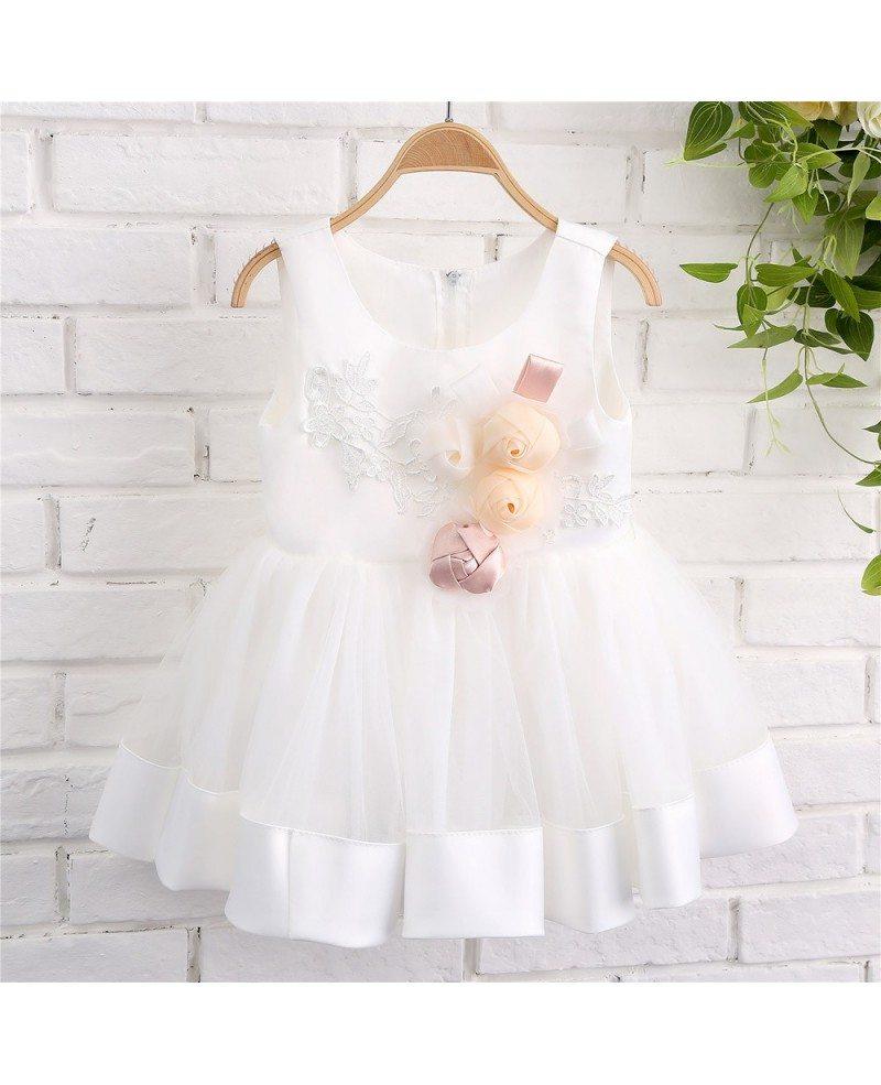 white tulle and satin toddler girls formal wedding dress