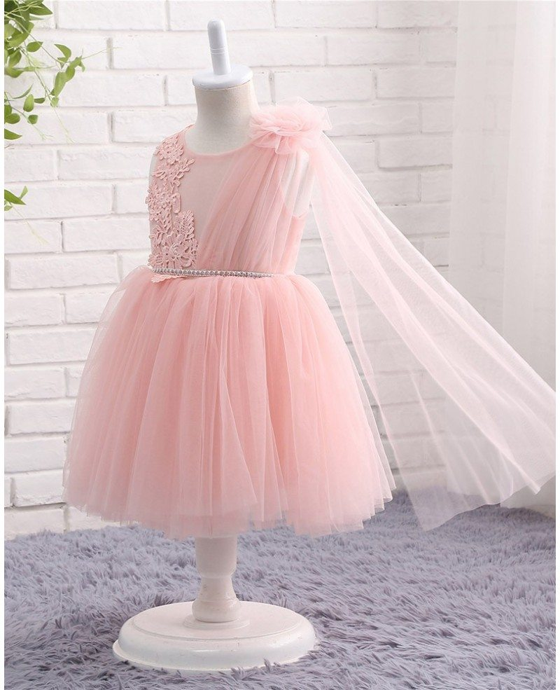 Best pink tulle lace formal toddler flower girls wedding for Flower girls wedding dress