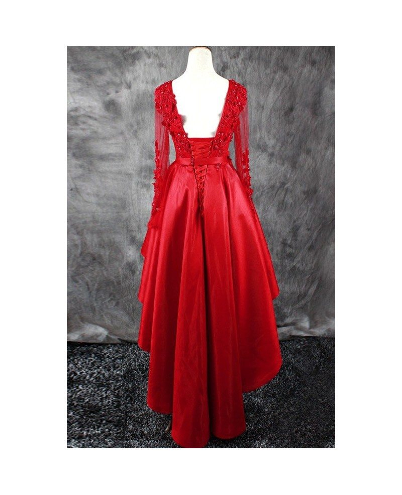Red a line high low wedding dresses with sleeves v neck for Short long sleeved wedding dresses