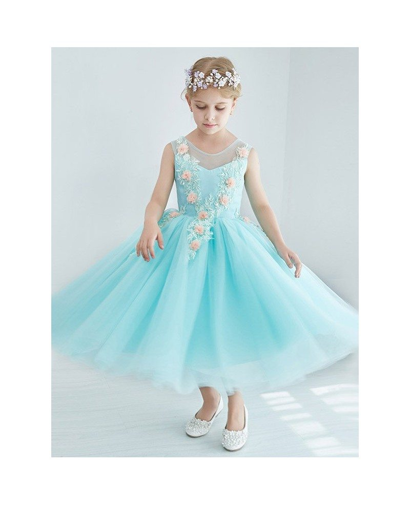 Little Girl\'s Ball Gown Blue Tulle Lace Pageant Dress with Flowers ...