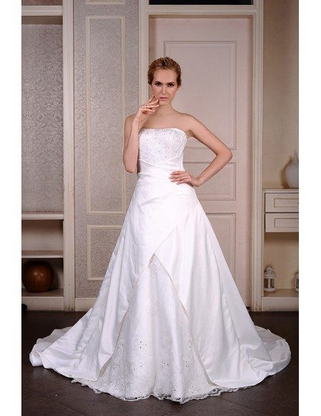 Ball-Gown Strapless Chapel Train Satin Wedding Dress With Beading ...