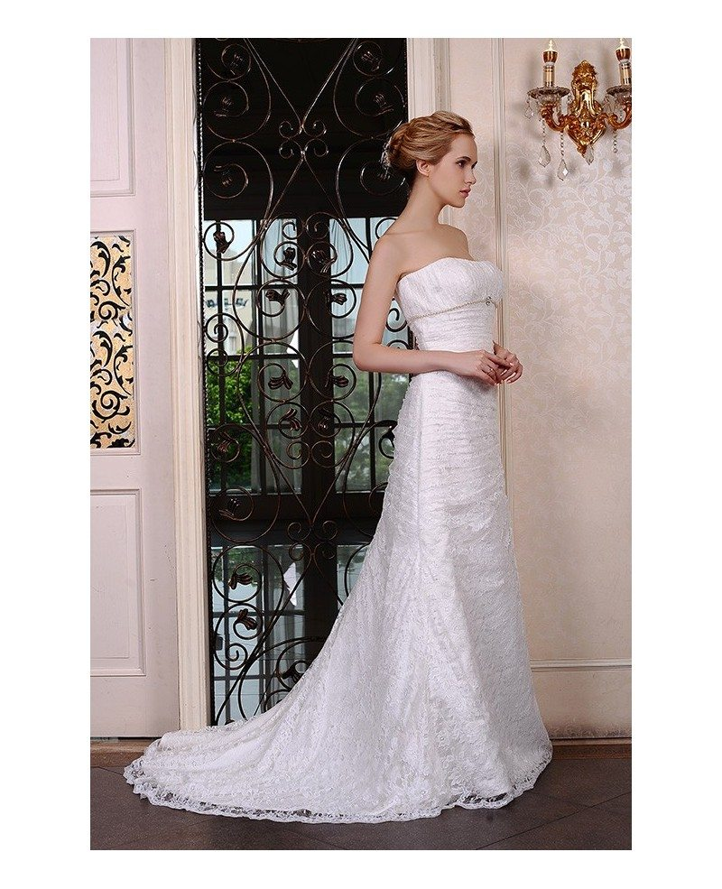 Mermaid strapless court train lace wedding dress with for Mermaid wedding dress with train