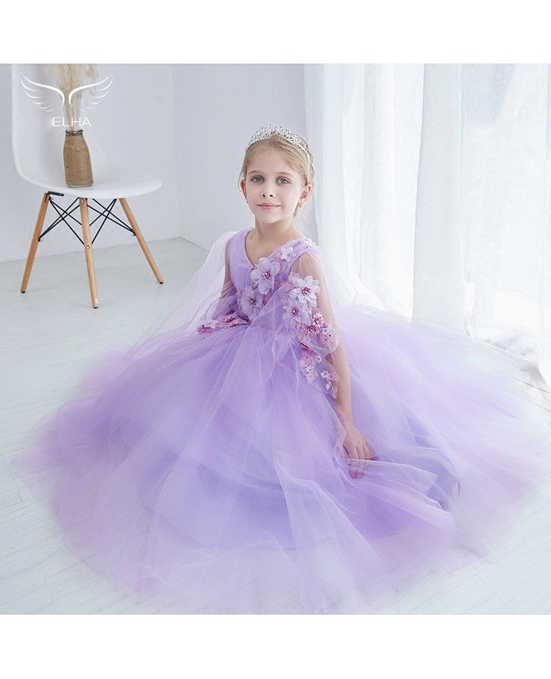 Ball Gown Tulle Lavender Applique Pageant Dress for Little Girls ...