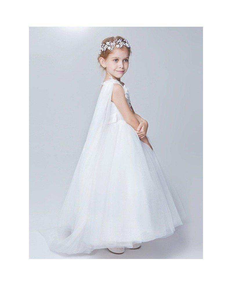 One Shoulder White Tulle Ball Gown Flower Girl Dress #EFA10 ...