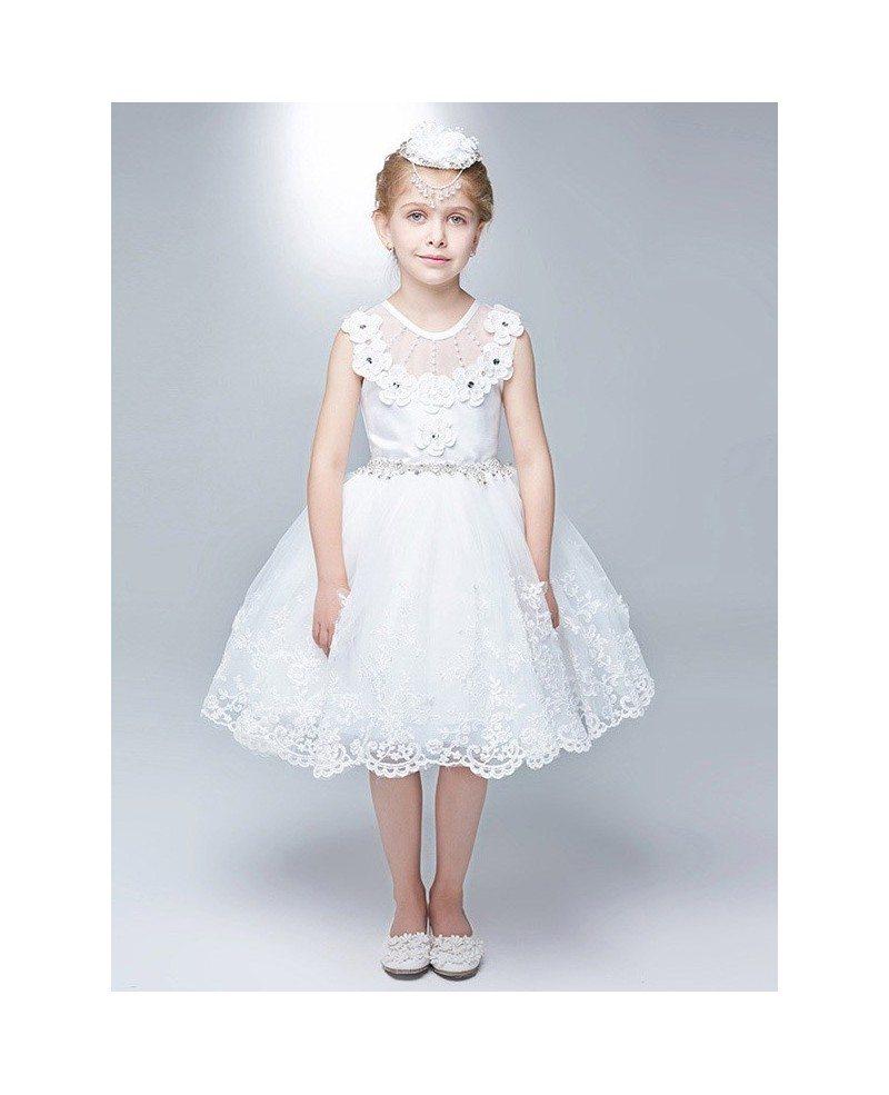 Rhinestones Short White Lace Bubble Flower Girl Dress Efa11