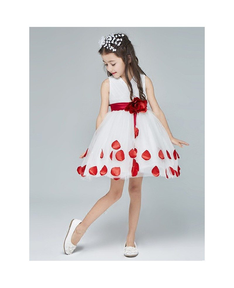 White With Red Petals Knee Length Flower Girl Dress With Sash Efa13
