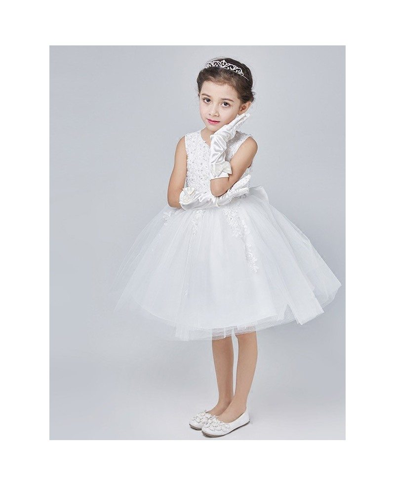 Short White Tulle Lace Beading Tutu Flower Dress With Bow Back