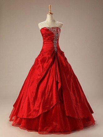 Taffeta Ballgown Embroidered Red Wedding Dress Ruffles