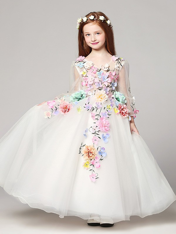Long Sleeved Embroidery Ball Gown Flower Girl Dress With