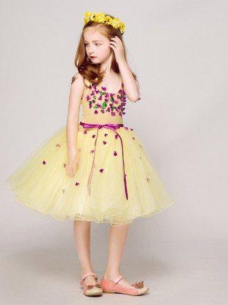 Flower girl dresses cheap flower girl dresses for wedding 9 sweetheart short yellow tulle pageant dress with purple flowers mightylinksfo