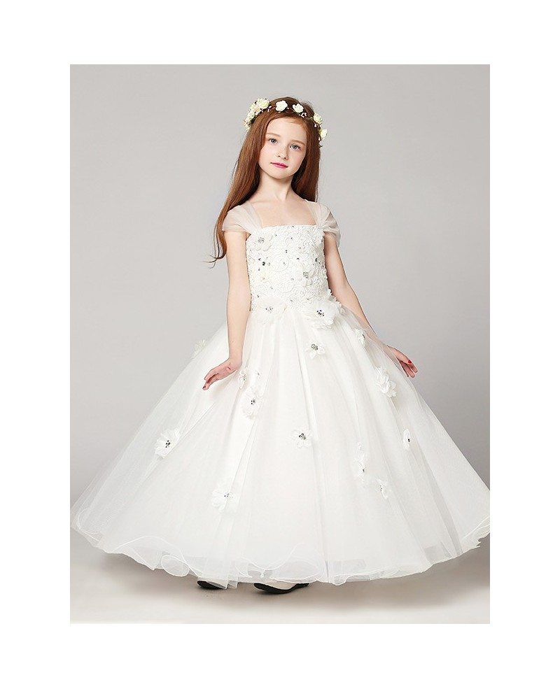 Long Ball Gown White Lace Beading Flower Girl Dress With