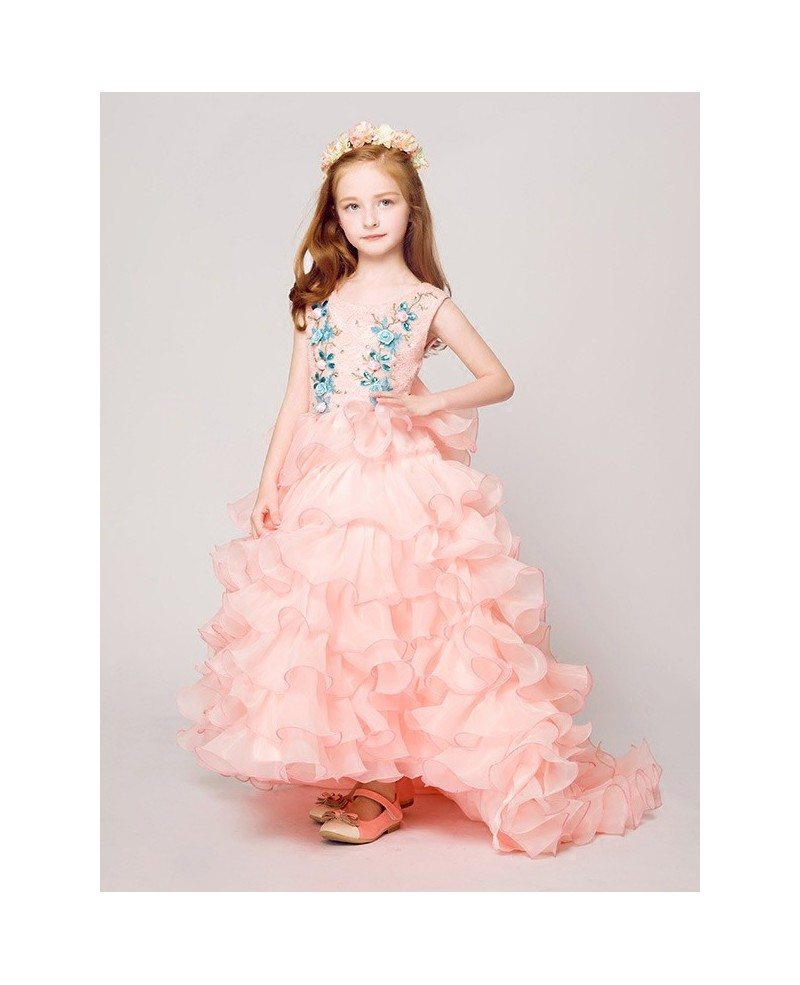 Cascading Sweep Train Lace Pink Flower Girl Dress With Blue Floral
