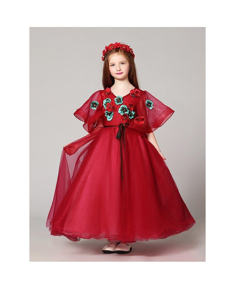 Puffy Sleeves Ball Gown Red Tulle Pageant Dress with Handmade ...