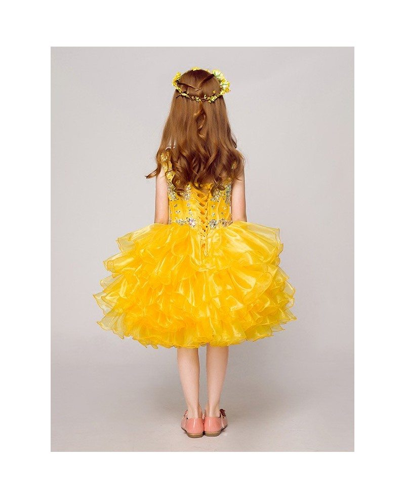Shining Yellow Ruffled Short Ballroom Flower Girl Dress With