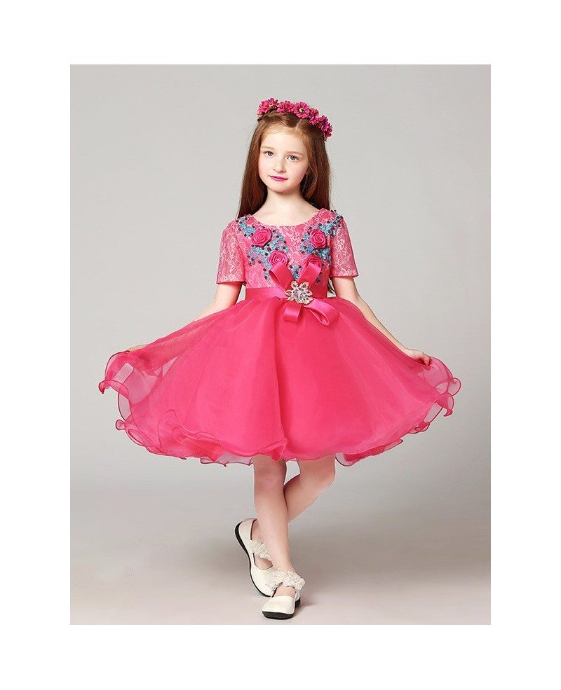 Short Sleeves Lace Pink Pageant Dress With Blue Flowers Efv26