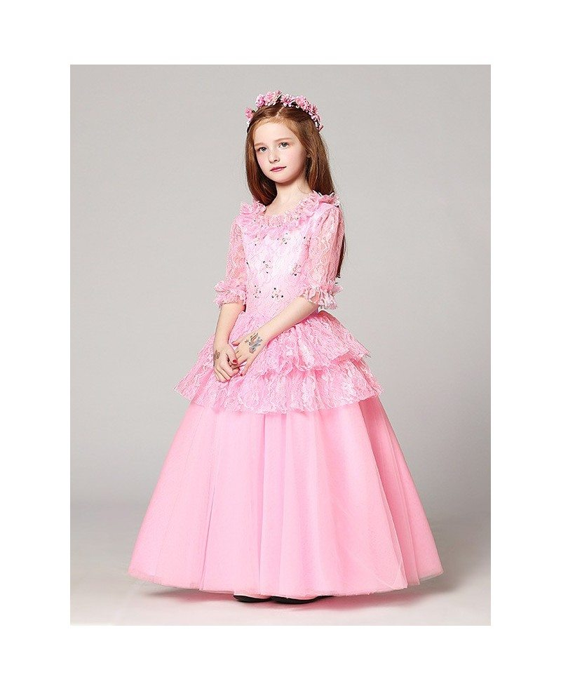Long Sleeves Lace Pink Ball Gown Flower Girl Dress with ...