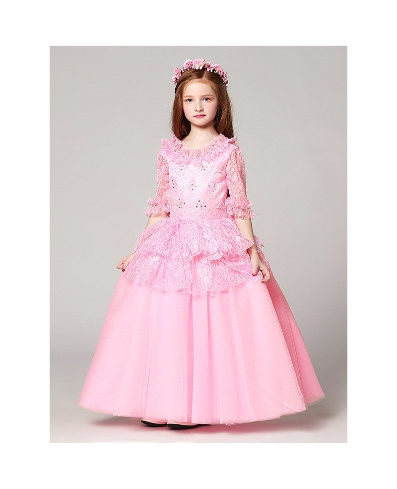 Long Sleeves Lace Pink Ball Gown Flower Girl Dress with Jacket ...